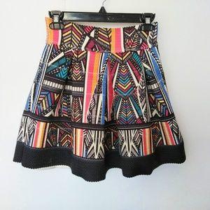 Xhilaration Tribal Print Multi Color A Line Skirt